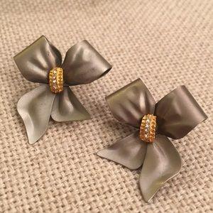 Vintage Matte Grey Silvertone Metal Bow Earrings